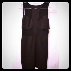 Black mini dress with mesh cutouts
